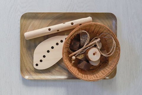 Natural threading set handmade in Australia from sustainable wood.