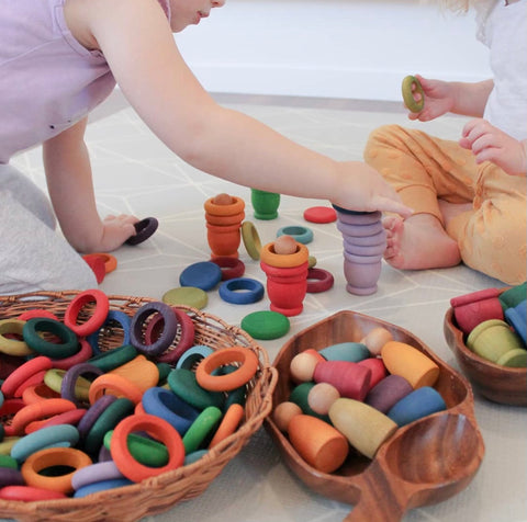 Wooden loose part play with Grapat toys.