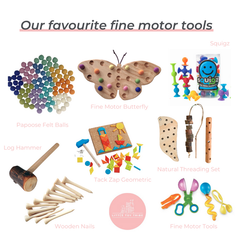 Layout of fine motor resources available at Little Toy Tribe.