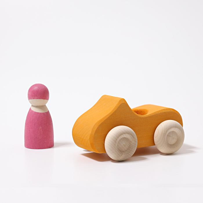 Grimm's Small Convertible Yellow Car Little Toy Tribe