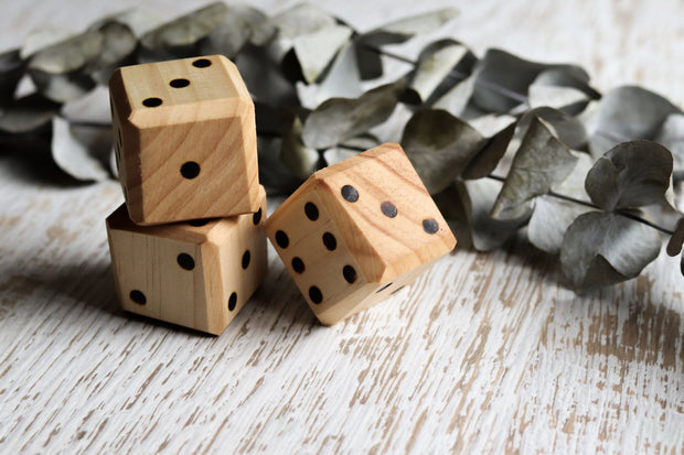 2 Chunky Wooden Dice