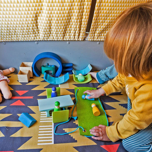 Grimm's Mobile Home Green and Blue at Play Little Toy Tribe
