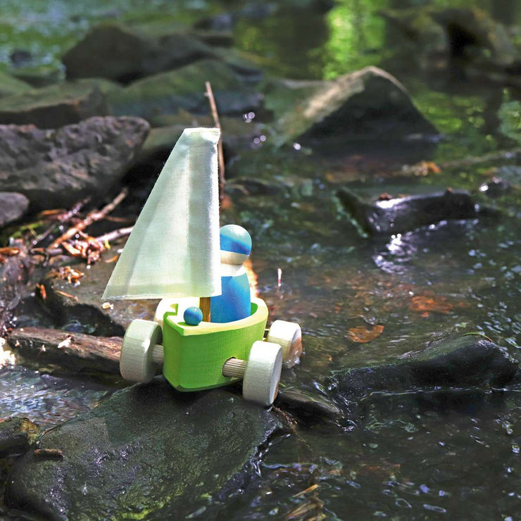Grimm's Single Land Yacht with Sailor in Creek Little Toy Tribe