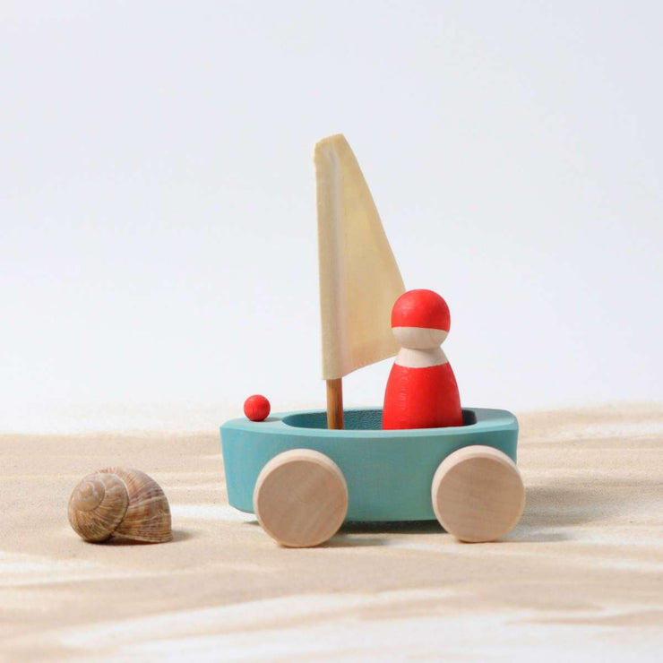 Grimm's Single Land Yacht with Sailor Light Blue Little Toy Tribe