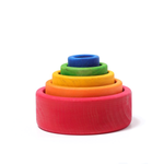 Grimm's Coloured Stacking Bowls Outside Red