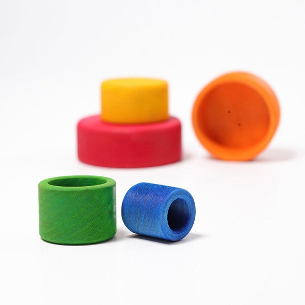 Grimm's Coloured Stacking Bowls Outside Red Little Toy Tribe