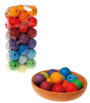 Grimm's Wooden Beads 36 x 30mm Rainbow in Bowl Little Toy Tribe