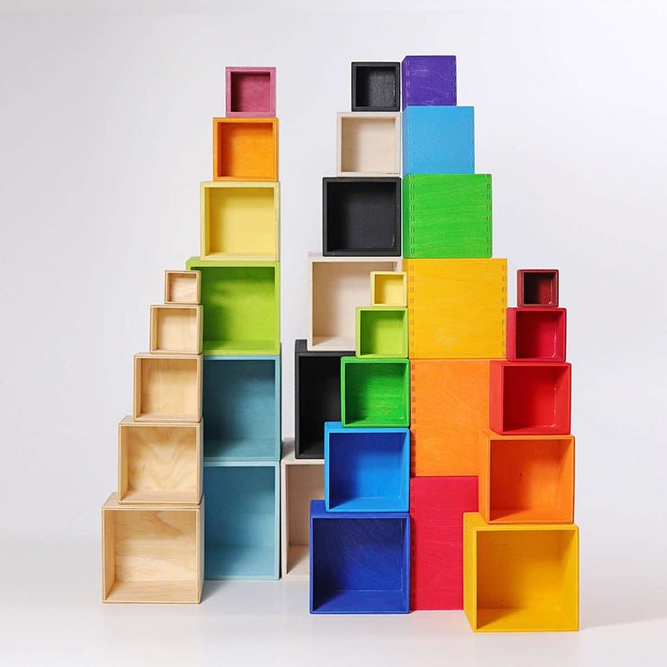 Grimm's Natural Stacking Boxes with Coloured Little Toy Tribe