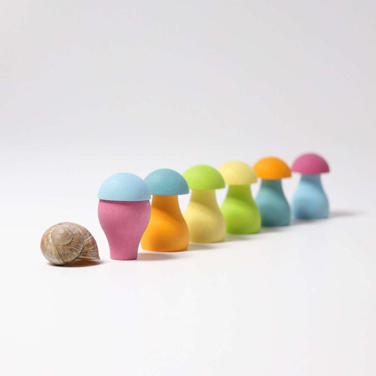 Grimms Pastel Mushrooms Bottom on Top Little Toy Tribe
