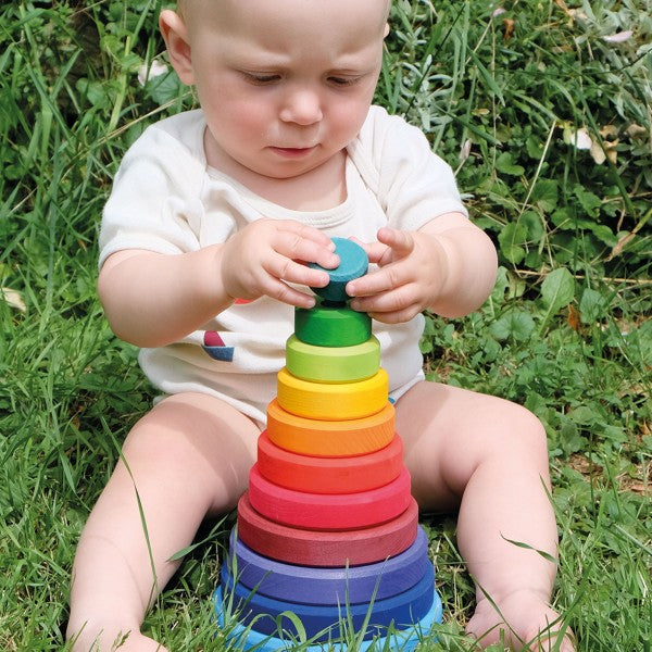 Grimm's Conical Stacking Tower Rainbow Little Toy Tribe