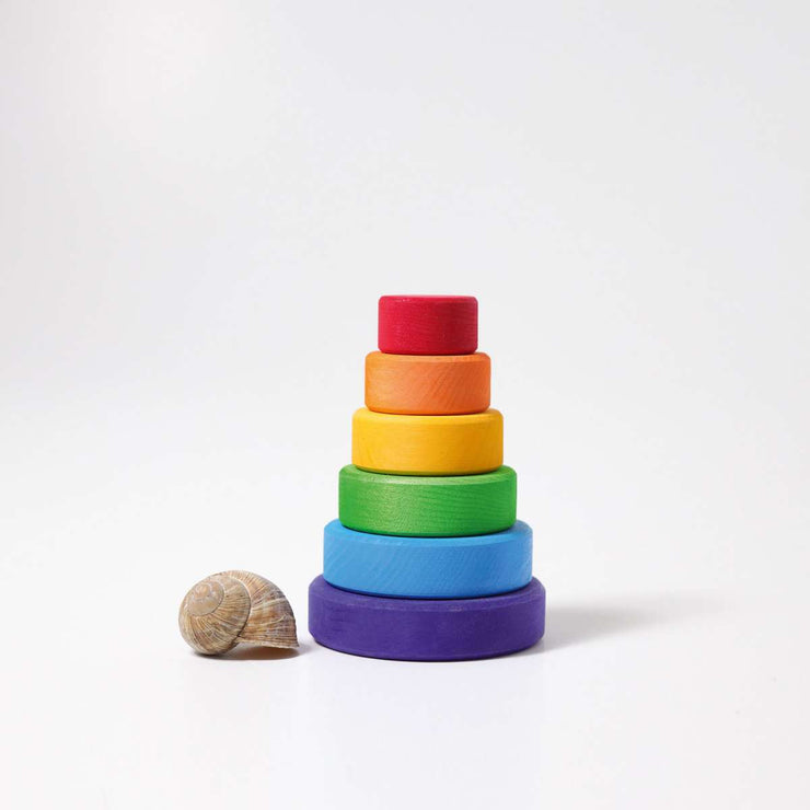 Grimm's Small Conical Stacking Tower Rainbow Little Toy Tribe