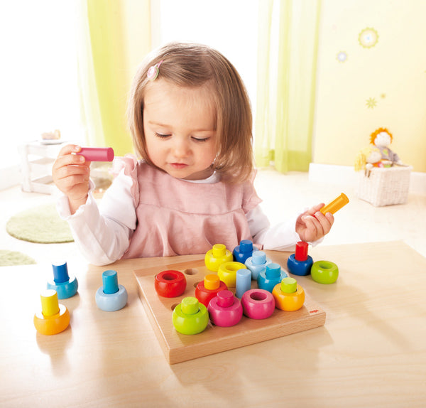 Rainbow Whirls Peg Board Stacker