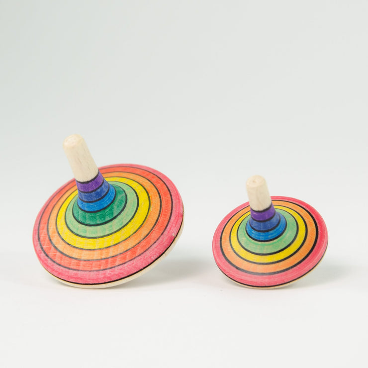 Mader _ large rallye spinning top rainbow red bottom compared small _ Little Toy Tribe