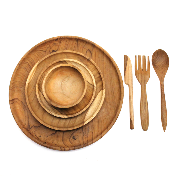 Papoose Wooden Plates, Bowl and Cutlery Set