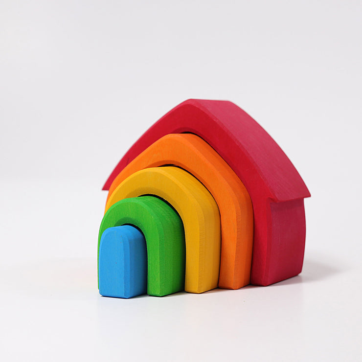 Grimm's Rainbow Stacking Houses Little Toy Tribe