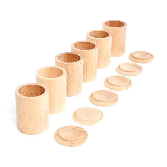 Grapat 6 Natural Cups with Lids Little Toy Tribe