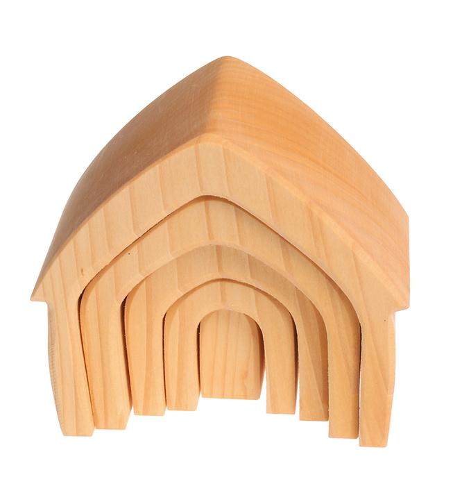Grimm's Natural Stacking Houses Little Toy Tribe