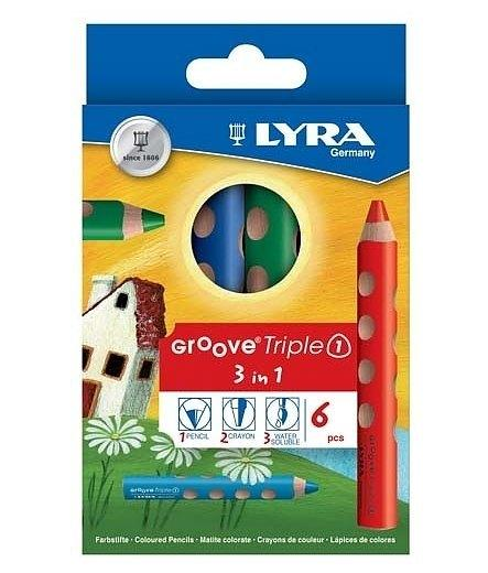 Lyra Triple Groove 3 in 1 Pencil, Watercolour and Wax Crayon