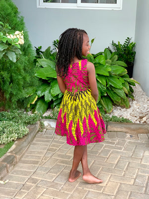 Adia Pink and Yellow Dress