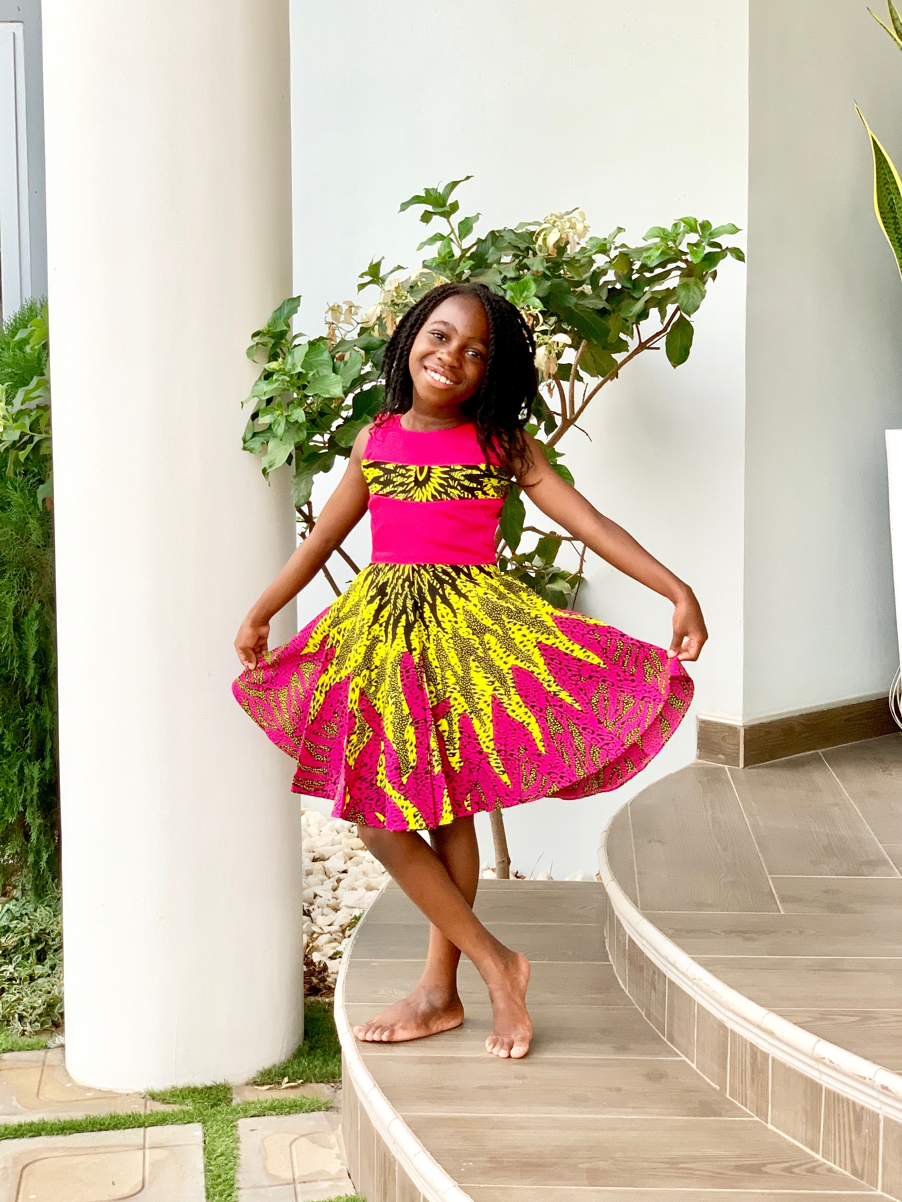 Fafa Pink and Yellow Sunrise Dress
