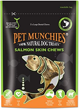 Pet Munchies Salmon Skin Chew Dog Treats Large 125g