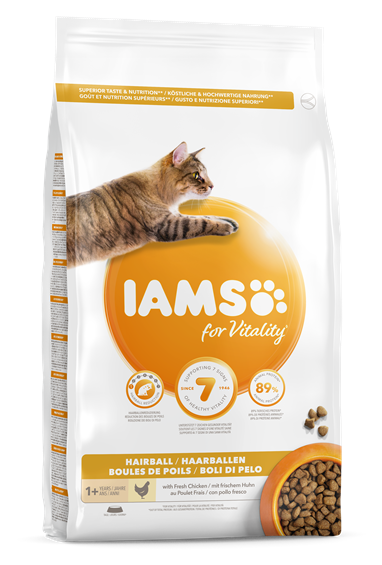 Iams for Vitality Adult Cat Food Hairball Reduction with Chicken