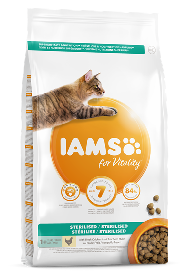 Iams for Vitality Light In Fat/Sterilised Cat Food with Chicken