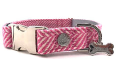 Hugo & Hudson Dog Collar Pink Herringbone