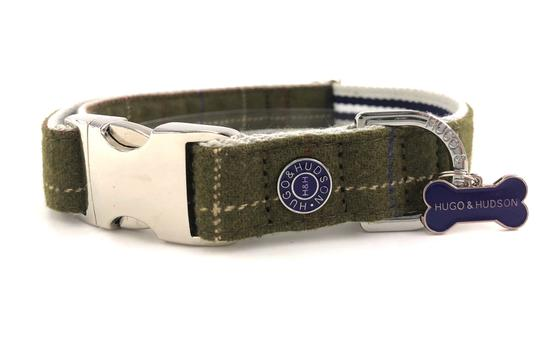Hugo & Hudson Dog Collar Dark Green Checked Tweed