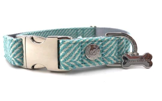 Hugo & Hudson Dog Collar Aqua Herringbone