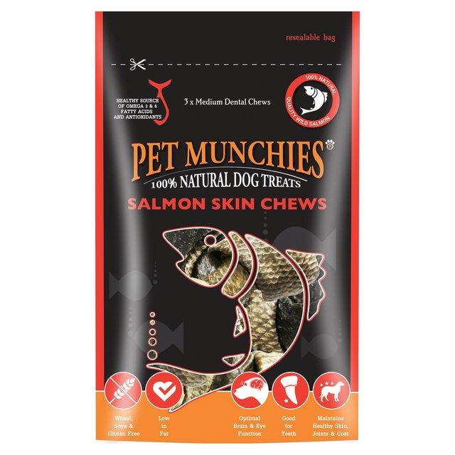 Pet Munchies Salmon Skin Chew Dog Treats Medium 90g
