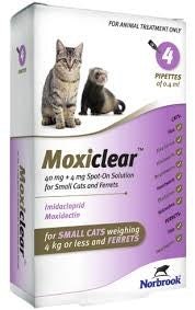 Moxiclear Small Cat & Ferret <4kg (4 Pipettes)