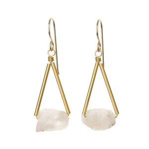 Pavi Earrings - Rainbow Moonstone