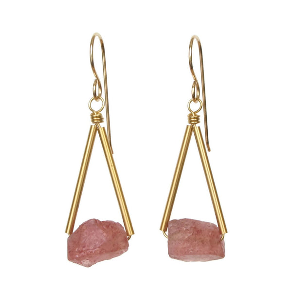 Pavi Earrings - Strawberry Quartz