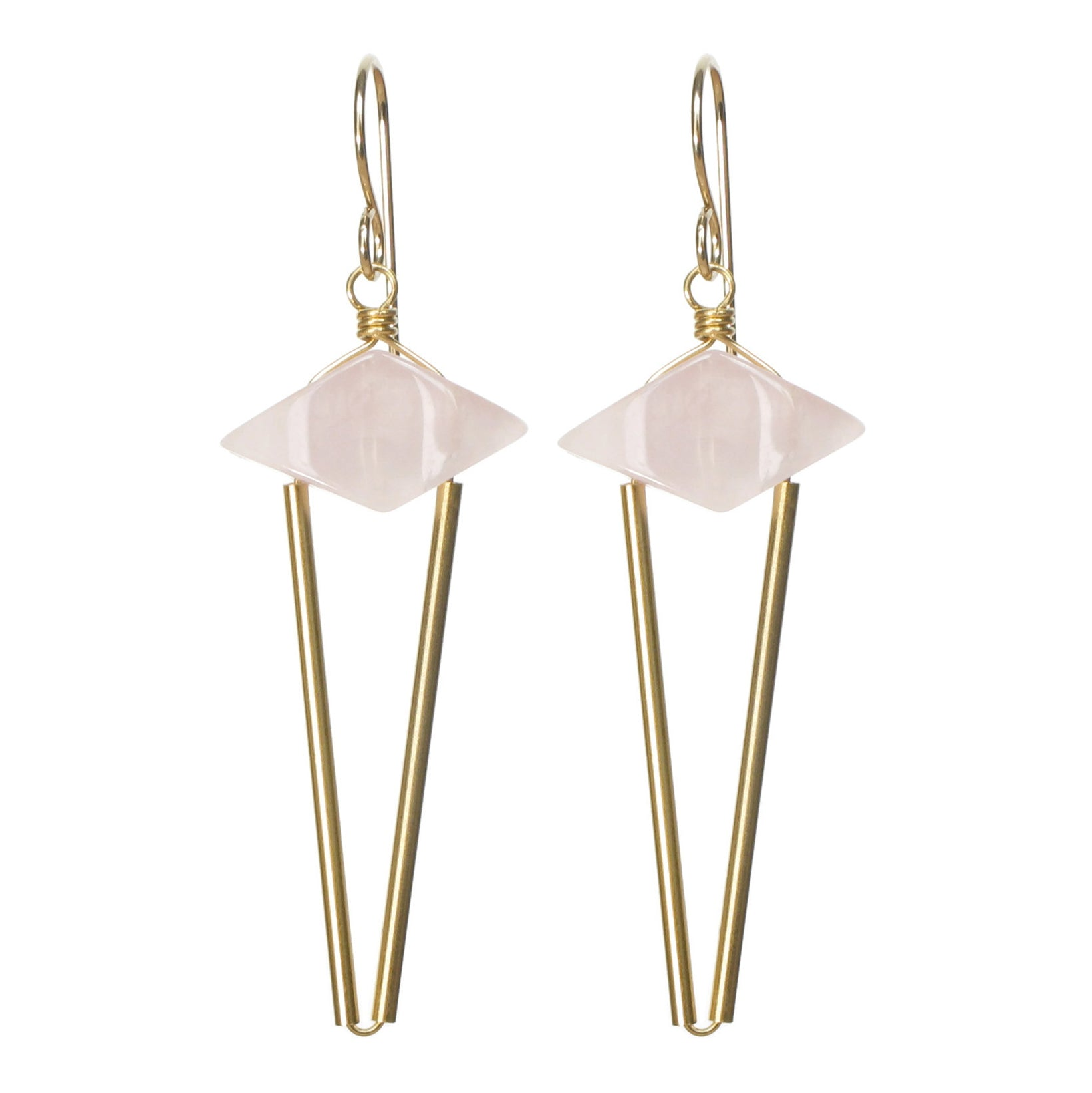 Point Earrings - Rose Quartz