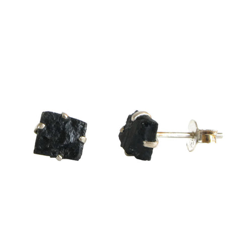 Raw Stone Studs - Black Tourmaline