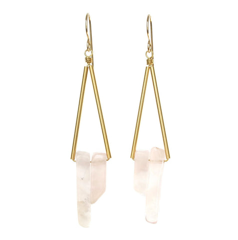 Reese Earrings - Rose Quartz