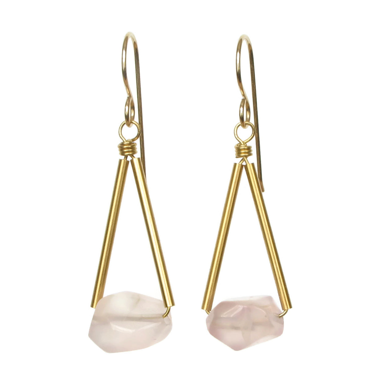 Riki Earrings - Rose Quartz