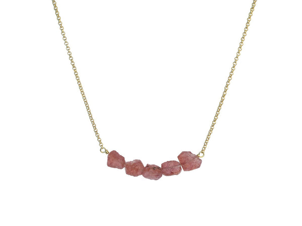 Donya Necklace - Strawberry Quartz