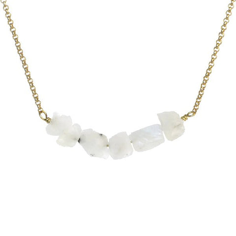 Donya Necklace - Rainbow Moonstone
