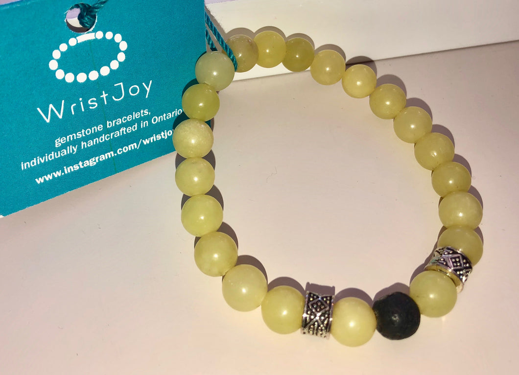 WristJoy Gemstone Bracelet Yellow Jade and Lava Stone