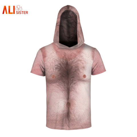 Chest Hair T Shirt 3d Print Hooded Shirt Men Women Unisex - teefortee