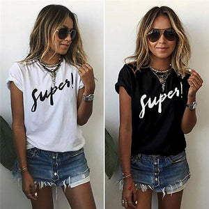 2XL  Printed Women T Shirt Loose Female Summer Tee Tops Short Sleeve White Women Tshirts - teefortee