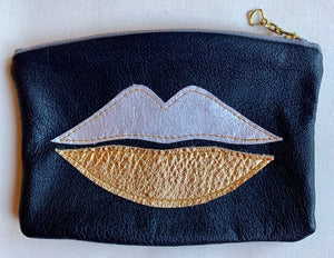 Lips pouch gold/silver