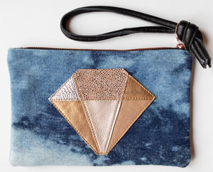 Abundance Clutch Denim Quartz Crystal