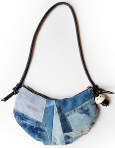Patchwork Denim Saddle Bag