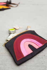 Recylced Leather Pouch Red Pink