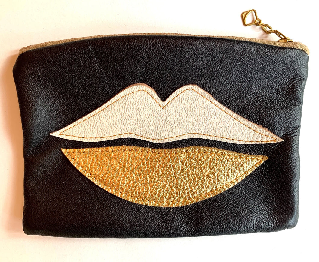 Recycled Leather Pouch White Gold Lips