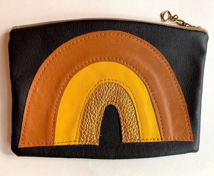 Recycled Leather Pouch Mustard Gold