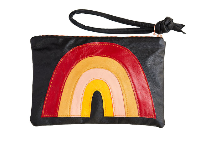 Rainbow Clutch Bright on Leather